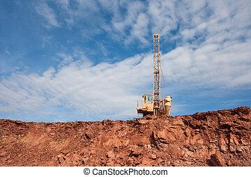 machine, charbon, trous, mine, forage
