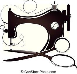 machine, ciseaux, couture, silhouette
