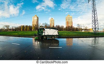 machine, cityscape, straat, poetsen