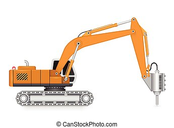 Machine - Illustration of demolish machine isolated on white...