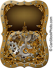 Machine clockwork heart concept with a heart shape made of cogs and gears with art nouveau background