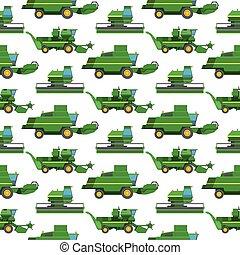 machine, combine, industriel, illustration., excavateur, ferme, modèle, seamless, tracteurs, équipement, vecteur, machinerie, fond, récolte, agriculture, transport