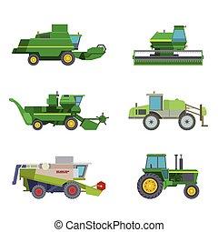 machine, combine, industriel, illustration., excavateur, ferme, récolte, tracteurs, équipement, vecteur, machinerie, agriculture, transport