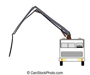 Machine Concrete Pump. Vector Illustration.