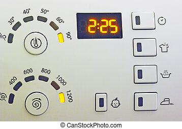machine, contrôle, lavage, panneau