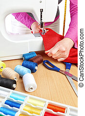machine., costura, trabajador, mano, mujer, cose