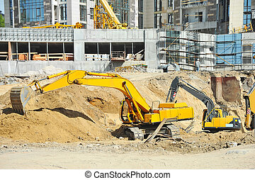 machine, creuser, site construction