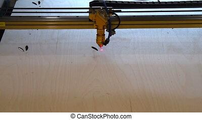 machine, découpage, laser, travail