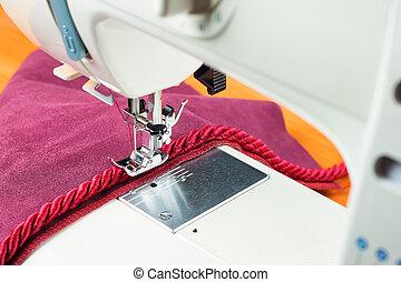 machine, decoratief, naaiwerk, koord