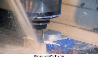 machine, details, industriebedrijven, frezen
