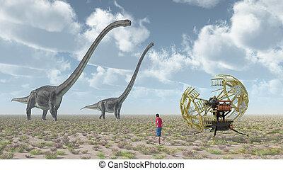 machine, dinosaure, omeisaurus, voyageur, temps