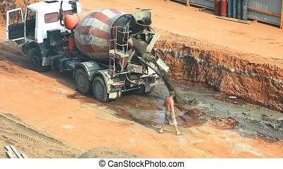 Machine drain cement on construction site