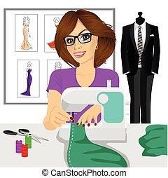 machine, dressmaker, het naaien van de vrouw, gebruik