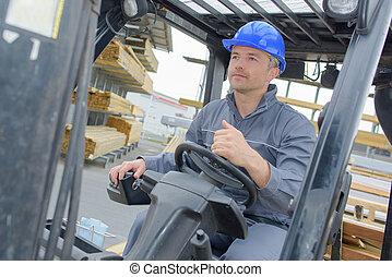 machine, entrepôt, conduite, homme