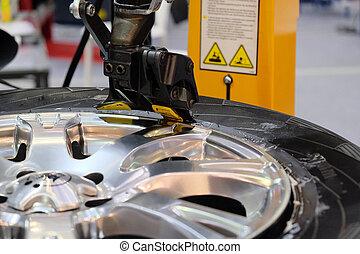 machine, essayage, pneu