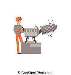 machine, exploitation minière, mâle, travail, fonctionnement, industrie, mineur, illustration, uniforme, charbon, vecteur, forage, professionnel, minerai