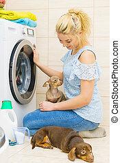machine, femme, lavage, monture