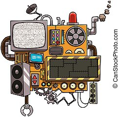 Machine - Fictional cartoon machine with copy space isolated...