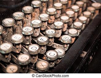 machine., fin, vendange, façonné, haut, typewriting