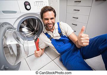 machine, fixation, lavage, bricoleur