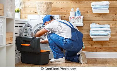 machine, fonctionnement, réparations, lessive, homme, lavage, plombier