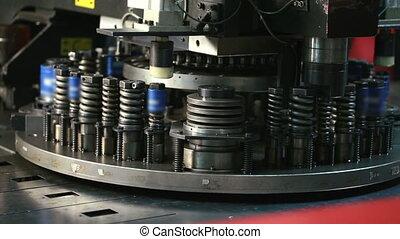 Machine for punching of sheet metal, close-up