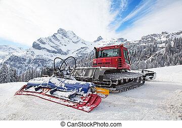 machine for snow preparation prepared for work