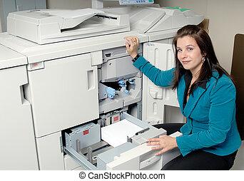machine, fotokopie, vrouw