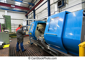 machine., fräsning, äldre, industri, metall, cnc, arbetare