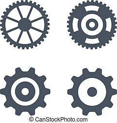 Gears icons vector clock gear set and transmission clip art machine gear wheel vector icons isolated on white sciox Image collections
