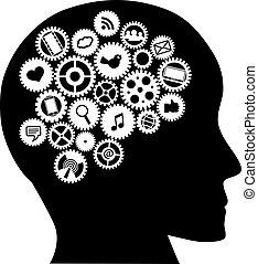 Machine gears Human Head with Social Media Symbols