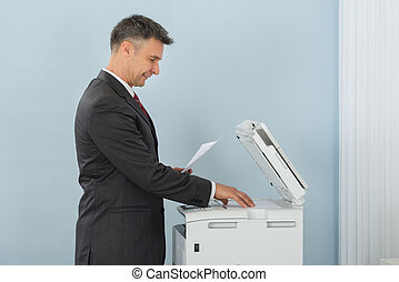 machine, gebruik, fotokopie, kantoor, zakenman