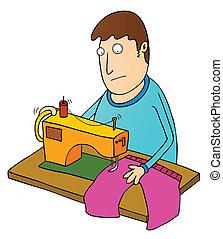 machine, gebruik, naaiwerk, man