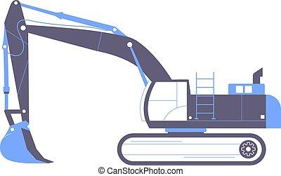 machine., grande, excavator., industrial