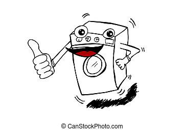 machine, griffonnage, rigolote, lavage