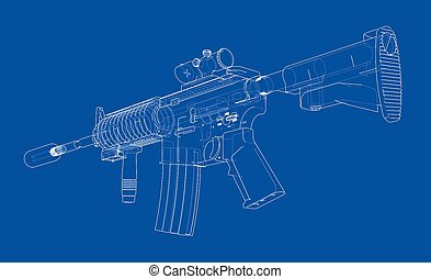 Machine gun  3d illustration  blueprint or wire-frame style