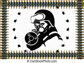 Machine-gun belt and a sniper