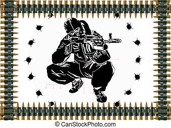 Machine-gun belt and a sniper with