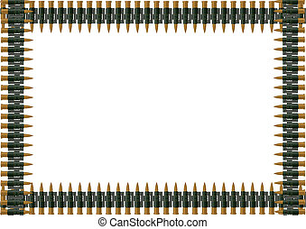 Machine-gun belt of ammunition. The illustration on white ...