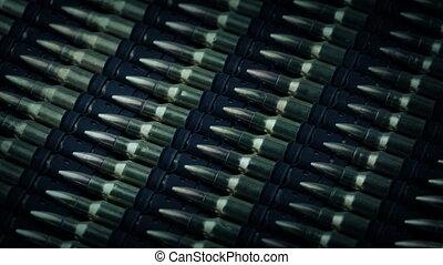 Machine Gun Bullets Rotating Closeup - Lots of machin-gun...