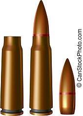 Machine gun cartridges. Vector illustration