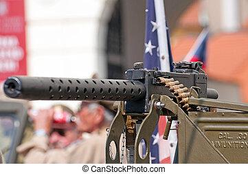 Machine Gun - Detail of machine gun, world war II style.