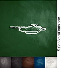 machine gun icon. Hand drawn vector illustration. Chalkboard...