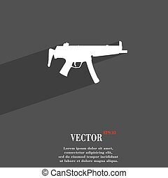 machine gun icon symbol Flat modern web design with long shadow and space for your text. Vector