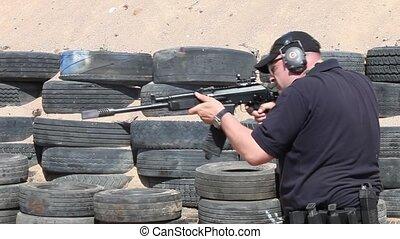 machine gun Kalashnikov - Shooter with a machine gun...