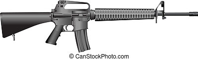 machine gun M16 A2. - Detailed vector illustration. Isolated...
