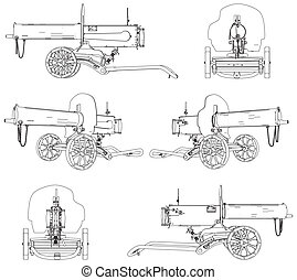 Machine Gun Maxim Vector