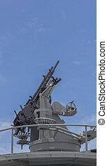 Machine gun on the battleship