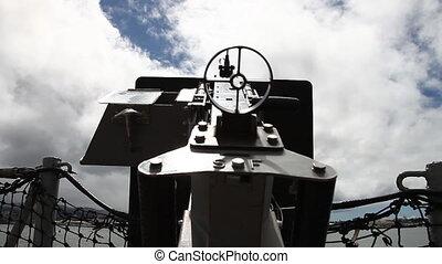 machine gun sky - Old machine gun of the battleship against...