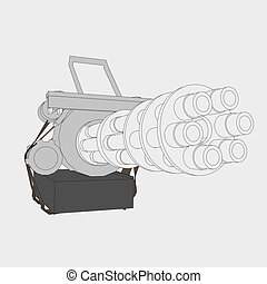 Machine Gun - Vector illustration of a gun with six trunks. ...